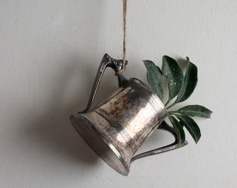 One Little Antique Silverplated Copper Loving Cup, Vintage Sugar Bowl Trophy Shape Planter
