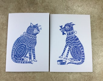 Cat and dog blank greeting cards, delft style, blue and white, hand carved lino block cards , folk art, hand printed and handmade by artist.