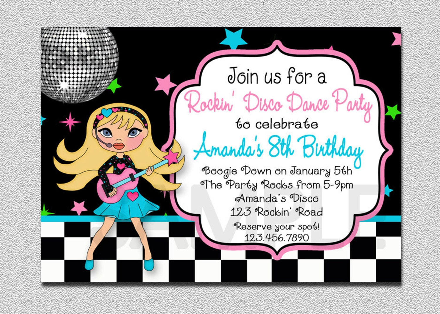Rock Star Birthday Invitation Disco Rock Star Birthday Party