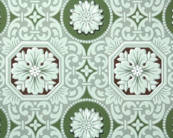 1940s Vintage Wallpaper by the Yard - Green Brown and White Geometric