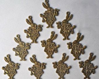 10 x Alice Wonderland Rabbit Bead 3D-2 Sided Antique Bronze Beads/Charm/Pendant 25x36mm - CH23