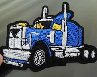 Iron On Patch - Blue Lorry Patches Car Patch Transportation patch Applique embroidered patch Embellishment Sew On Patch