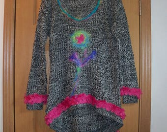 Felted Flower Dress wearable Colorful  Art Free Shipping in USA