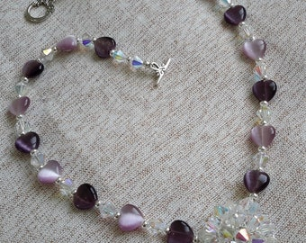 Crystals & Puffed Heart Cat's Eye Necklace Set