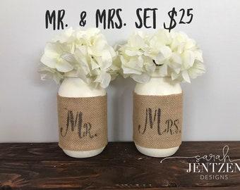 Mr. And Mrs. Mason jar set