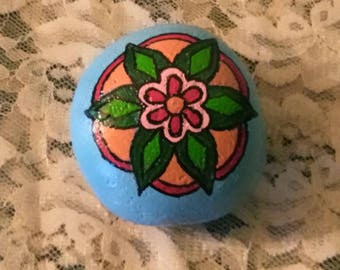 Floral, Flower, Mandala, Handpainted, River Rock, Stone, Mother's Day, Fairy Garden, Gift