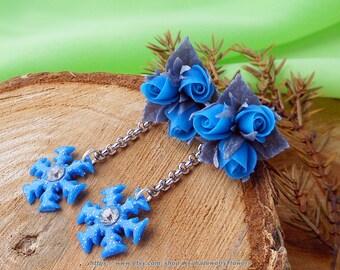 Blue snowflake Earrings Christmas Stud Dangle earrings Blue roses polymer clay roses Jewelry snowflake Xmas earrings Winter dangle earrings