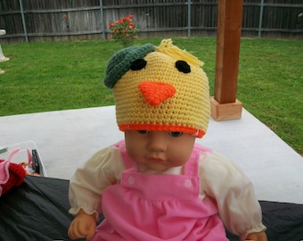 Crochet Duck with Green Tophat Beanie Easter Hat Toddler Cotton Yarn Ready to Ship Handmade Night and Day Crochet etsyturns13