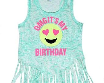 OMG It's My Birthday Shirt, Girls Emoji Shirt, Glitter Shirt, Birthday Number Shirt, Birthday Girl, Tween Shirt, Emoji Face, Emoji Birthday