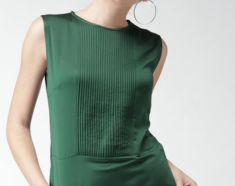 Green Satin Pintuck Top