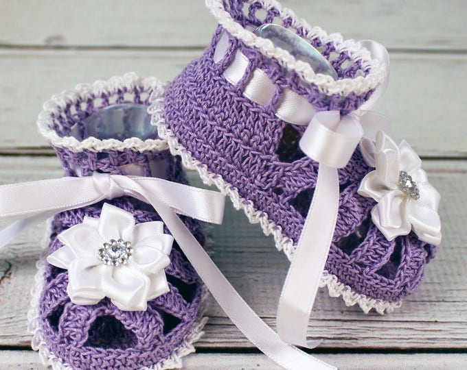 Featured listing image: Crocheted Lavender Violet White Baby Booties Sandals - 3-6 mos.