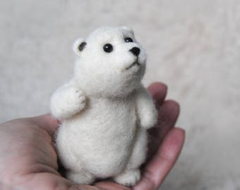 Needle Felted Polar Bear Cub, White Baby Bear Soft Sculpture, Handmade Animal - READY TO SHIP