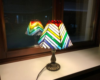 Rainbow Glass Lamp, Stained Glass Chandelier, Light Decor, Stained Glass Hanging Lampchandelier, Stain Glass Lighting, Chandelier Lighting