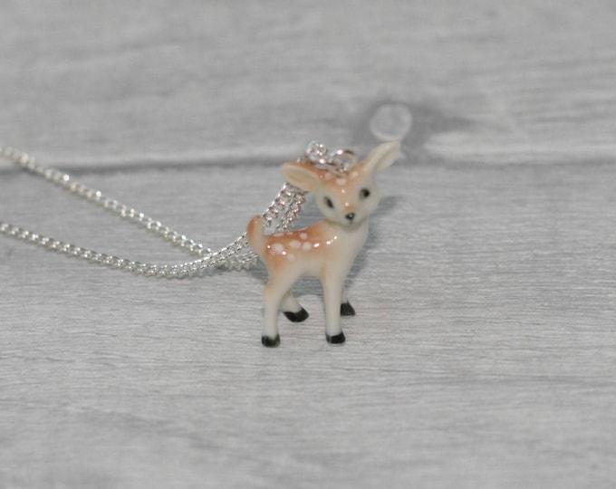 Tiny Porcelain Deer Necklace, Animal Necklace