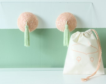 Pistacchio nipple pasties / hand sewn pink sequin and green tassel / gift for her / valentine's day gift