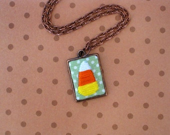 Mini Hand Embroidered Candy Corn Necklace