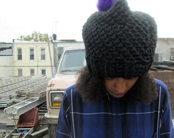 The Seed Beanie in Ebony/Black Floppy Hat/Chunky Crochet Winter Hat/Pom Pom Hat