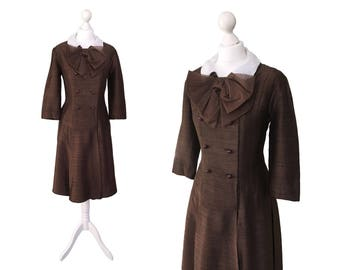 Susan Small Dress   Silk Dress   Detachable Collar   1960's Dress   Brown Coat Dress   Double Breasted   Vintage Dress   Large Organza Bow