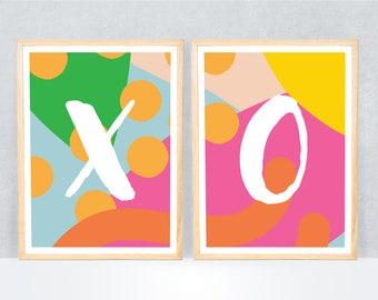 xo print / poster art print / wall art / bright colours / letters / alphabet / pop bright