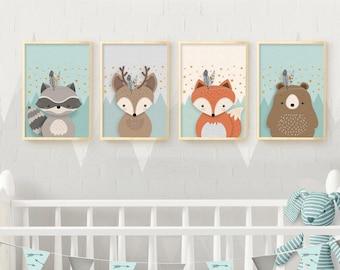 Woodland nursery, Nursery wall art, Nursery set, Nursery set of 4 print, Nursery Print, 4 giclee nursery, Forest friends, Nursery Giclee set