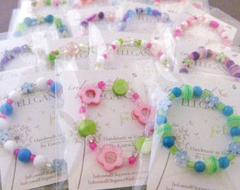 SALE: 10 Girls Bracelets in clear cello packaging, Great as Party Favors or Stocking Stuffers