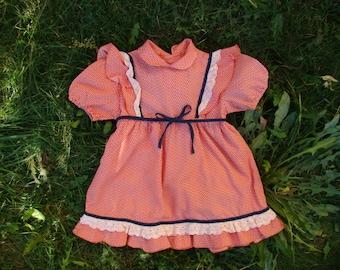 Soviet Toddler Tea Dress / 1960's Peach Pink Peter Pan Collar Summer Dress with Cotton Lace & Frills / USSR Vintage Paisley Sundress -> 2 -3