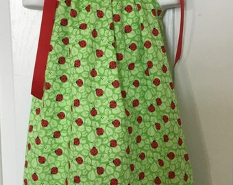 Green Ladybug Pillowcase Dress Size 18m