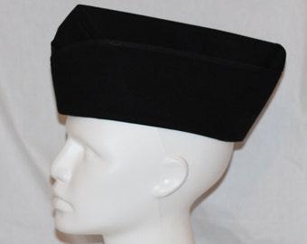 Military Cap Steampunk Hat Steam Punk Black Flight Cap Garrison Wedge Womens Mens Unisex Small Medium Large