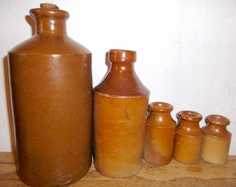Antique Stoneware Bottles Brownware Bottle Collection Earthenware Pottery Circa 1800s