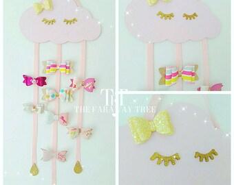 Wooden cloud hair bow holder, sleepy cloud, hair bow holder, sleepy eyelashes, hair accessories, hair bows, girls bedroom