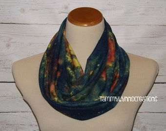 Galaxy Tie Dyed Style Infinity Scarf Women's Accessories