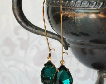 Long Green Vintage Rhinestone Earrings, Green and Gold Jewelry