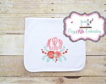 Monogram Burp Cloth, Girls Monogram Burp Cloth, Applique Burp Cloth, Embroidery Burp Cloth, Personalized Burp Cloth, Baby Shower Gift