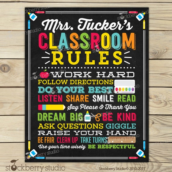 Classroom Decor Etsy ~ Classroom rules personalized teacher sign decor