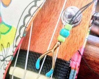 Wish bone -teal-charm for guitar pegs-uke charm