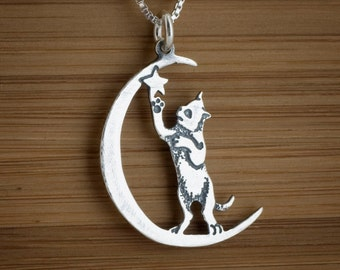 STERLING SILVER Cat in the Moon Double Sided Pendant Necklace or Earrings -  Chain Optional