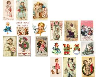Christmas Children Digital Collage Sheets