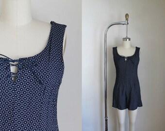 vintage 1990s romper - INDIGO corset tie front playsuit / XS
