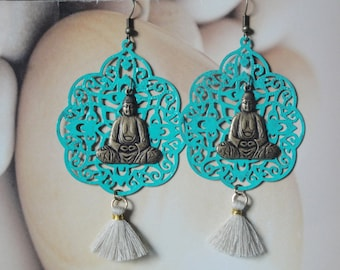 Buddha Zen Earrings     Teal Filigree/Brass Buddha/Tassel Earrings