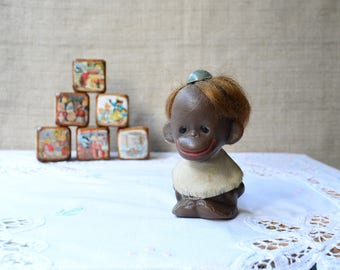 Funny smiling monkey plastic toy, retro soviet collectible toy 1980s nursery decor baby shower gift jungle whimsical animals monkey figurine