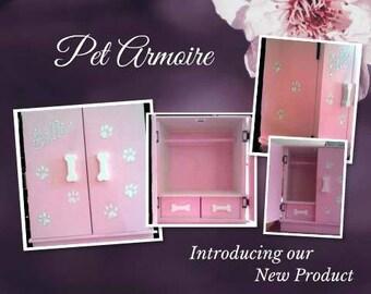 Sm Pet armoire, pet wardrobe, custom design, hand painted, dog closet, pet clothes closet, dog wardrobe closet, pet furniture,dog armoire