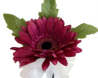 Hot Pink Silk Gerbera Daisy Corsage - Wedding Corsage Prom