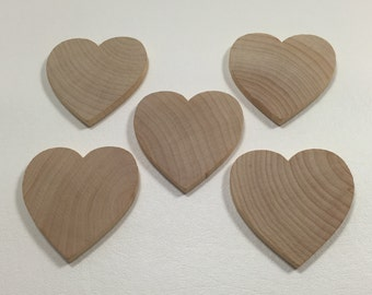 "2-1/2"" Wood Hearts -  Set of 5 - Unfinished Wood Hearts - 1/4"" Thick - Wooden Hearts"