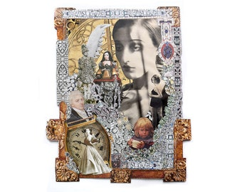 Time - Original surreal paper collage woman, child, man, jewellery