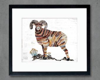 Animals of North America: Big Horn Sheep Ram Art Print