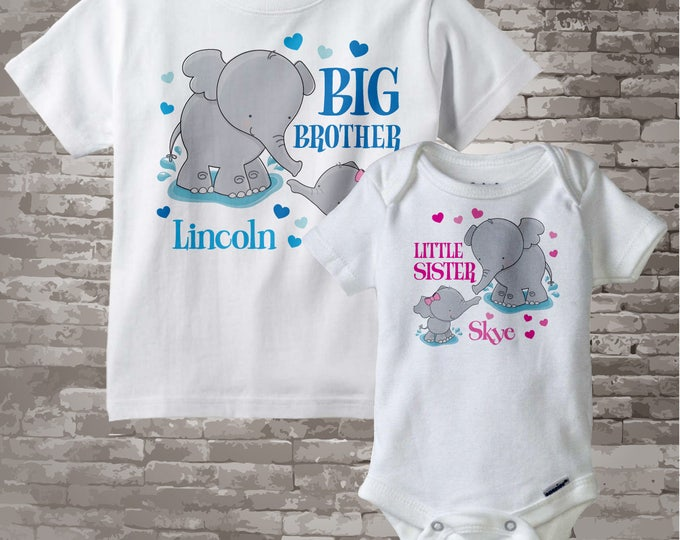 Set of Two Personalized Elephant Big Brother and Little Sister Shirt or Onesie Pregnancy Announcement 04302012a