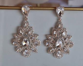 Rose Gold Crystal Earrings, Vintage Crystal Earrings, Bridal Jewelry, Bridesmaids, Tiered Long Crystal Earrings, Free Shipping
