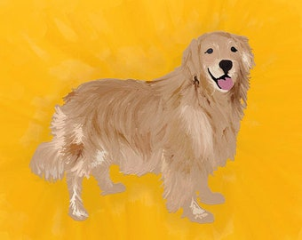 Art print of digital painting - Fylgia spirit portrat, honey golden retriever painting, canine spirit, spiritkeeping art