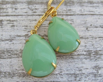 Green Teardrop Earrings, Gold and Green Earrings, Large Mint Green Teardrop Earrings, 14k Gold Lever Back Ear Wire,Gold Prong Set Drops
