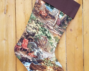 Gone Fishing Quilted Christmas Stocking